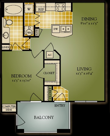 769 sq. ft. A2 floor plan