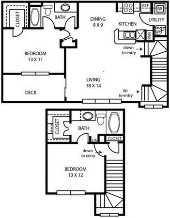 1,286 sq. ft. B3 floor plan