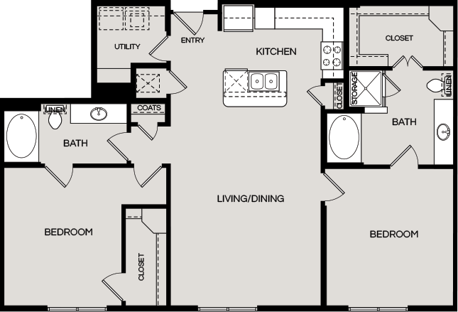 1,330 sq. ft. B4A floor plan