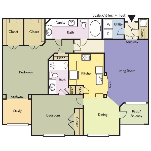 1,253 sq. ft. B2AD/MCKINNEY floor plan