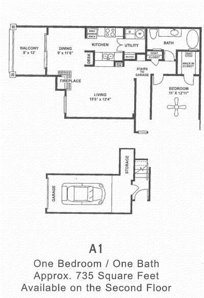735 sq. ft. A1 floor plan