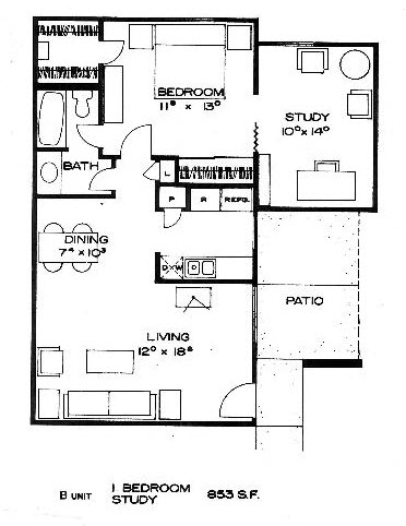 848 sq. ft. to 853 sq. ft. B floor plan