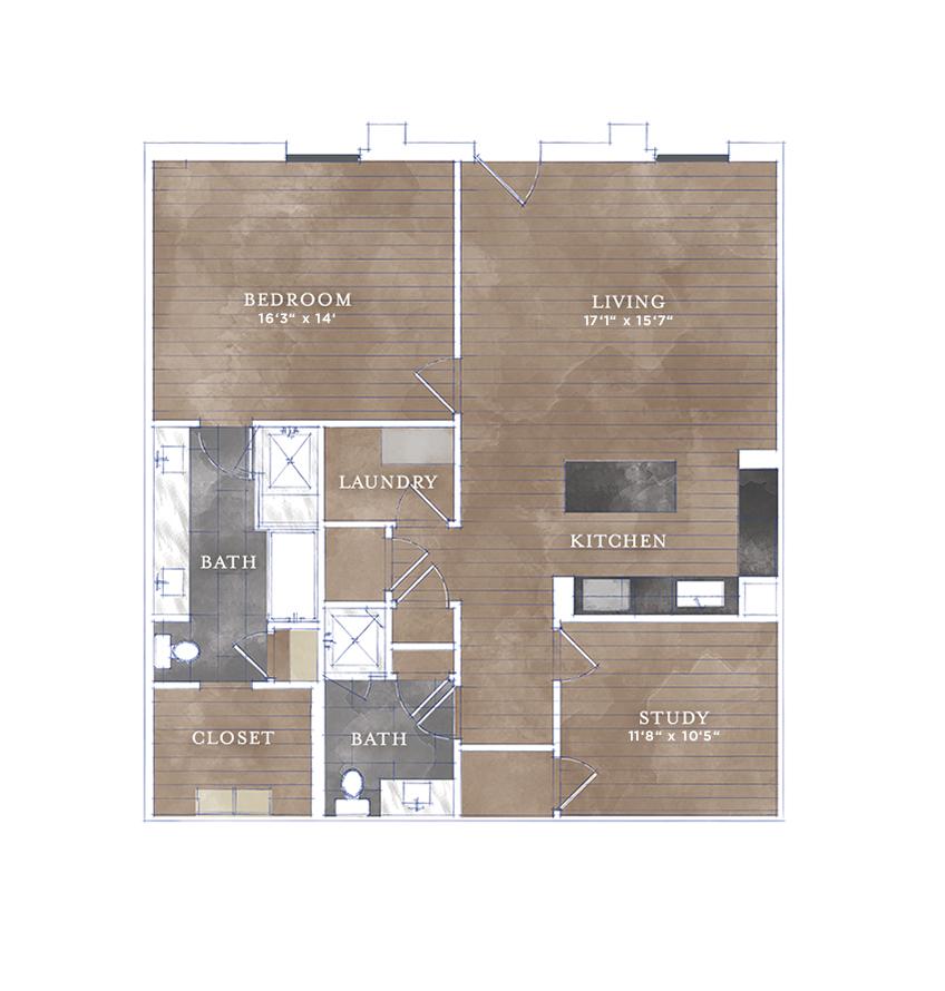 1,256 sq. ft. CS-4 floor plan