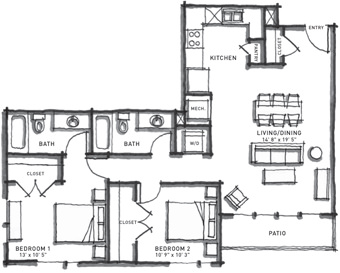 1,053 sq. ft. B2/60% floor plan