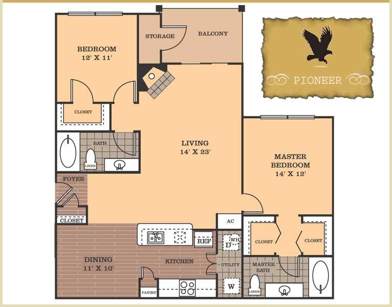 1,257 sq. ft. Pioneer floor plan