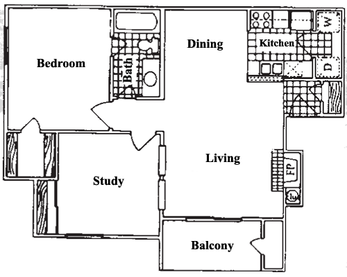 841 sq. ft. A3 floor plan