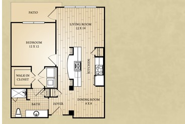 752 sq. ft. Guadalupe floor plan