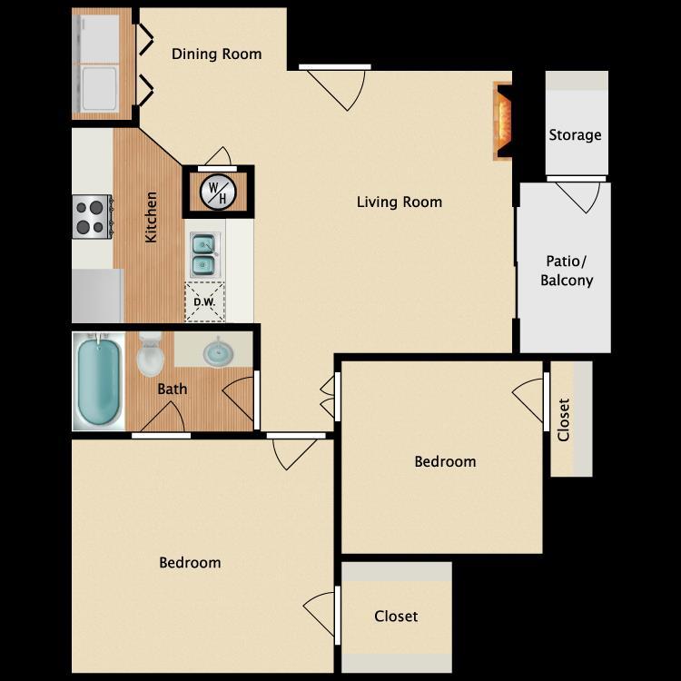750 sq. ft. A3 floor plan