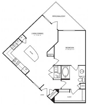 785 sq. ft. A5-1 floor plan