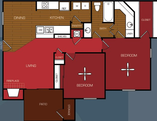 887 sq. ft. B1 floor plan