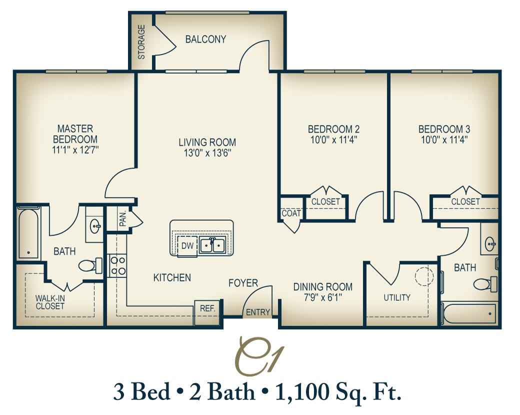 1,100 sq. ft. C1/60% floor plan