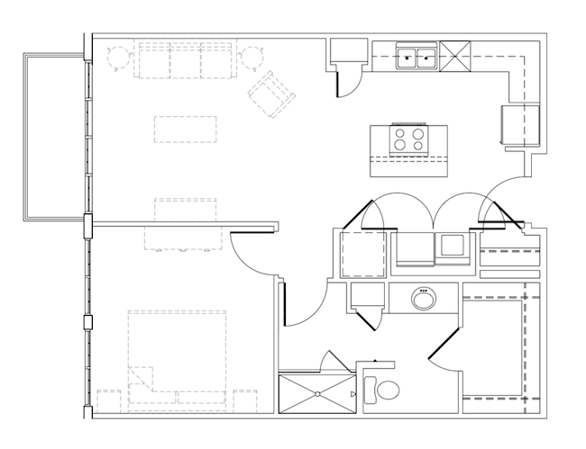 753 sq. ft. Rhome floor plan