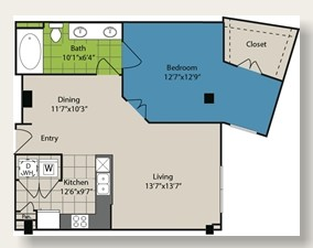 843 sq. ft. A6 floor plan