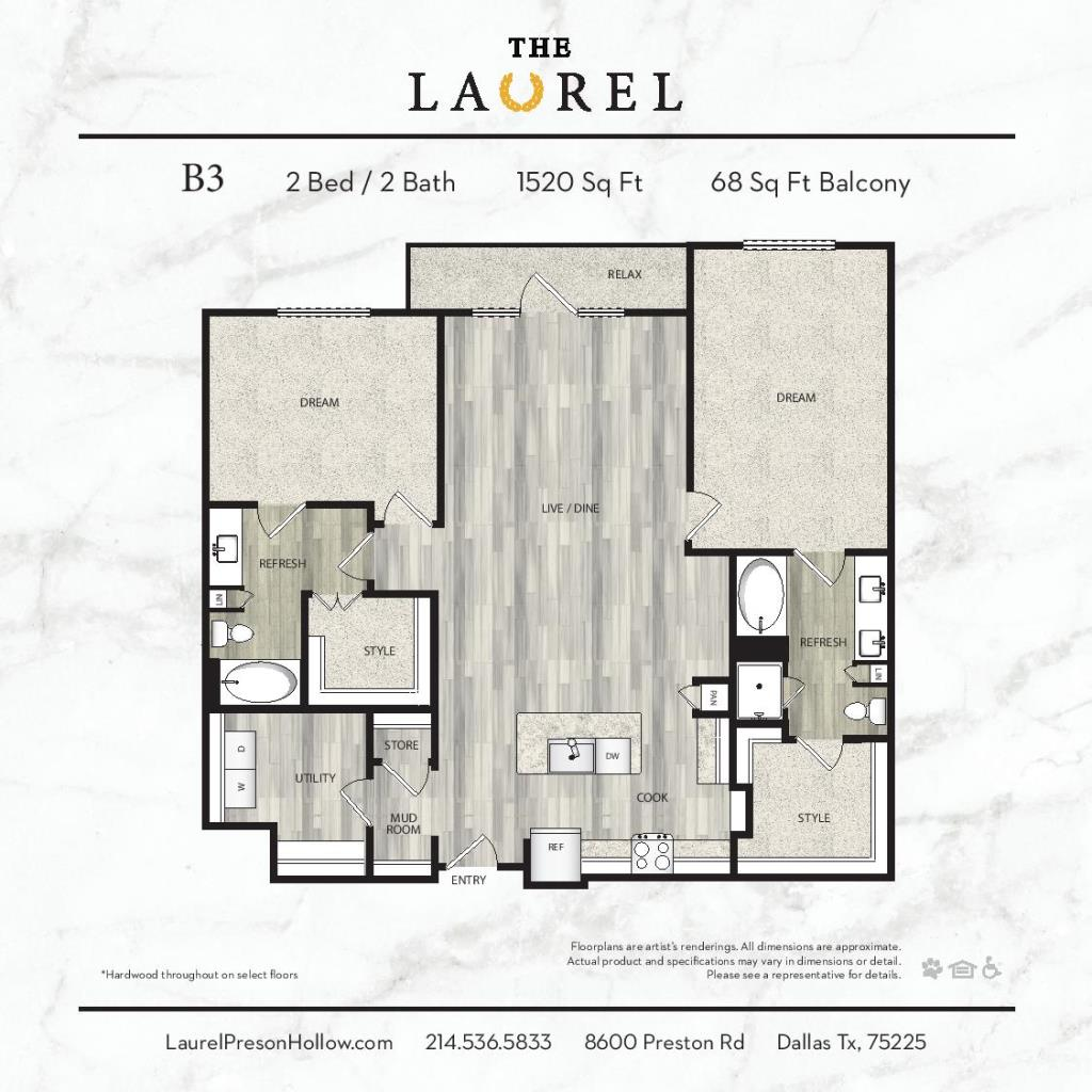 1,520 sq. ft. A5 floor plan