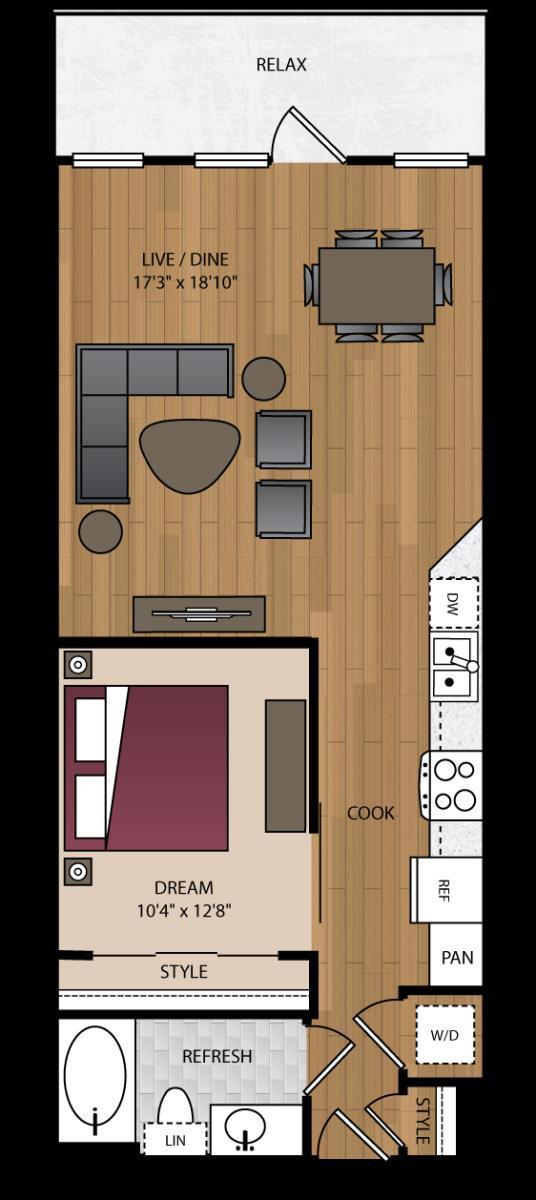 746 sq. ft. P-A12 floor plan