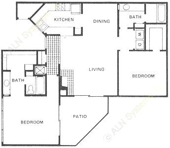 1,220 sq. ft. B2 floor plan