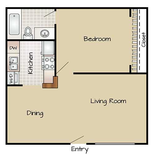 450 sq. ft. E floor plan