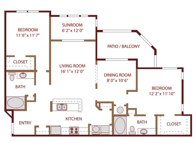 1,244 sq. ft. RELAX floor plan