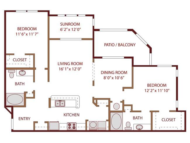 1,258 sq. ft. Relax floor plan