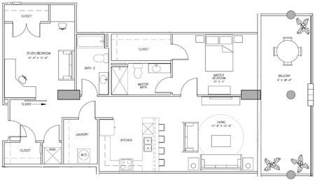 1,448 sq. ft. J floor plan