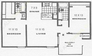 878 sq. ft. D floor plan