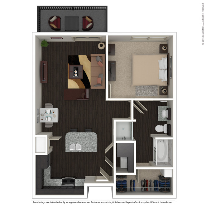 766 sq. ft. A5 floor plan