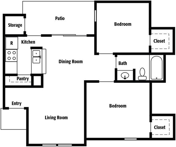 832 sq. ft. E floor plan