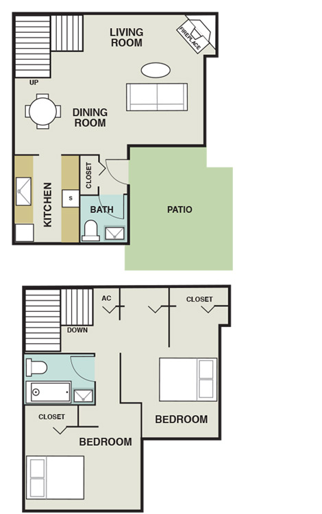 985 sq. ft. B4 floor plan
