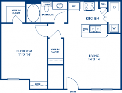 662 sq. ft. SAMOA floor plan
