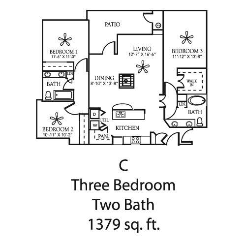 1,379 sq. ft. to 1,441 sq. ft. C/C1 floor plan