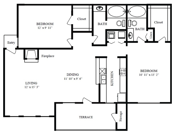 971 sq. ft. C/Crystal Beach floor plan