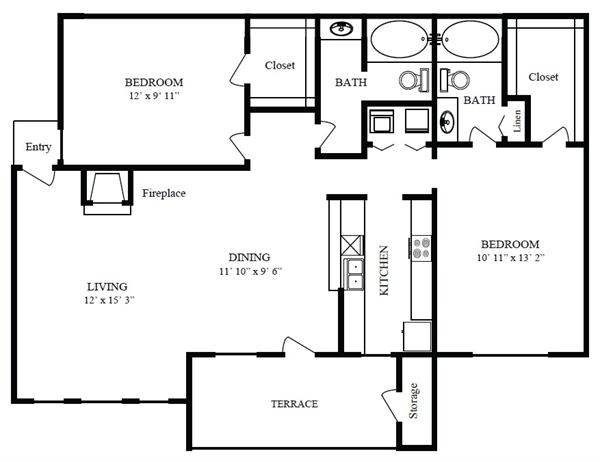 971 sq. ft. C/Crystal Beach floor plan