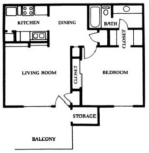 668 sq. ft. A floor plan