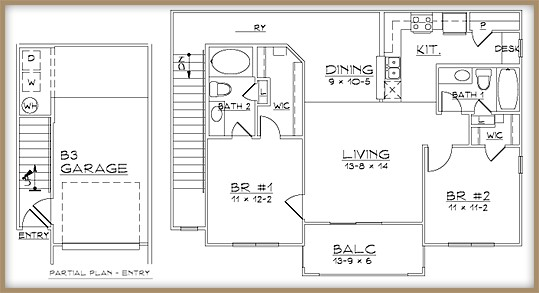 1,085 sq. ft. B3/60% floor plan