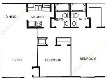 1,001 sq. ft. floor plan