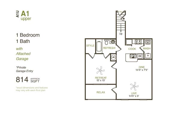 814 sq. ft. A1UG floor plan
