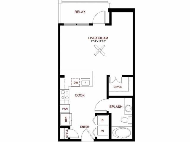525 sq. ft. Henderson floor plan
