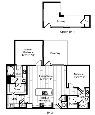 1,186 sq. ft. 22F2 floor plan