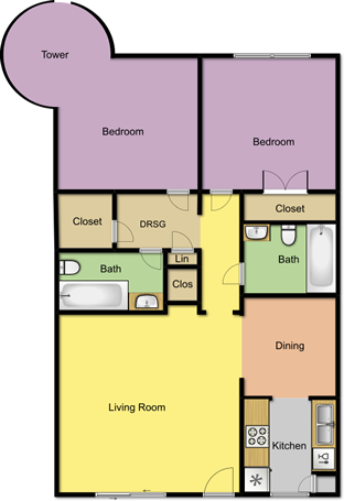 1,059 sq. ft. B4/Tower floor plan