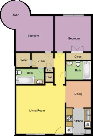 1,059 sq. ft. B4/Tower floor plan