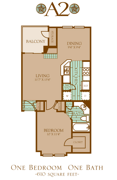 610 sq. ft. A2 floor plan