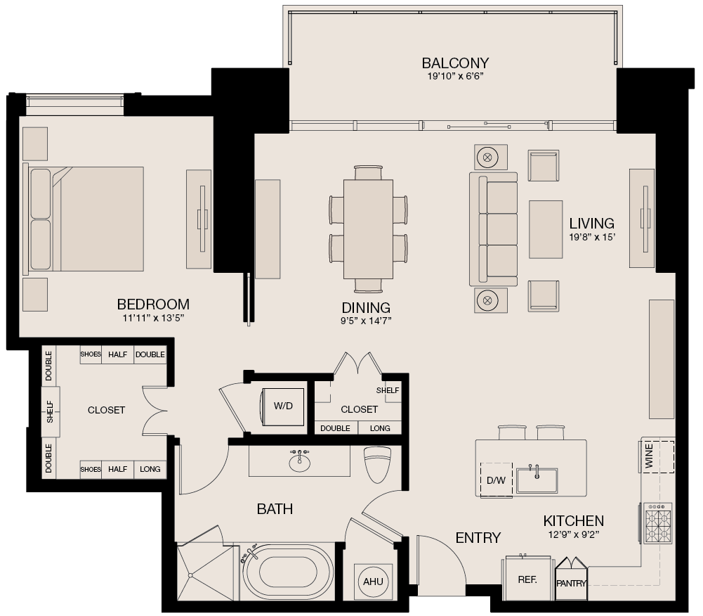 1,136 sq. ft. floor plan