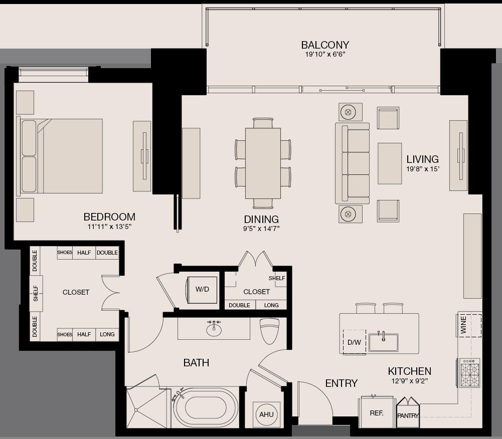 1,136 sq. ft. floor plan