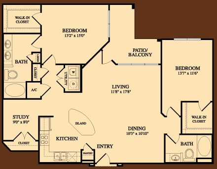 1,448 sq. ft. Arboretum floor plan