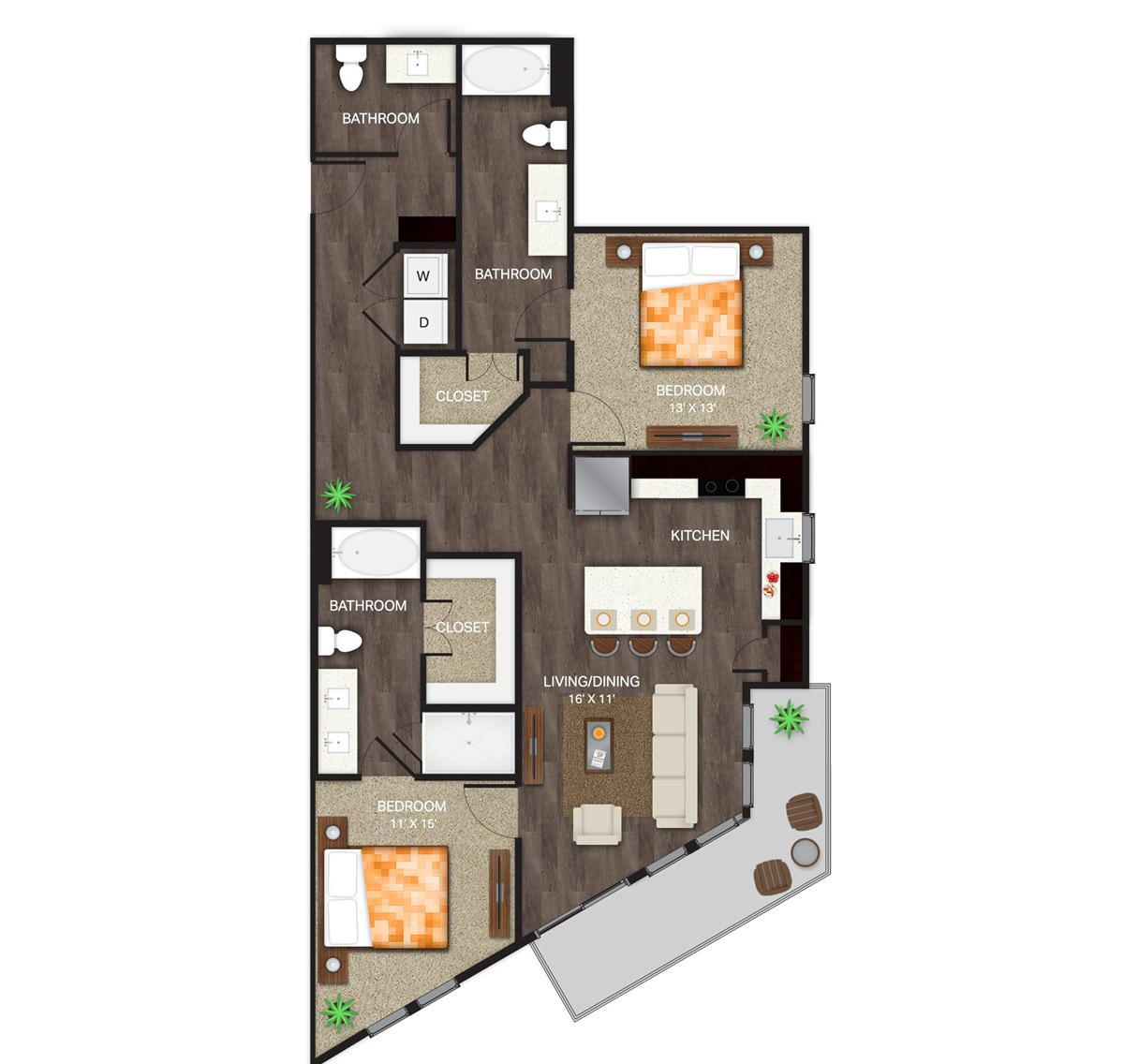 1,328 sq. ft. B-4 floor plan