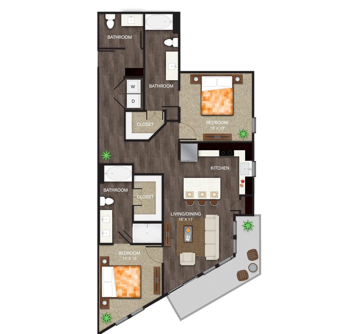 1,328 sq. ft. B-4 floor plan