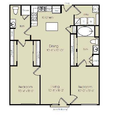 1,131 sq. ft. to 1,477 sq. ft. Broadway floor plan