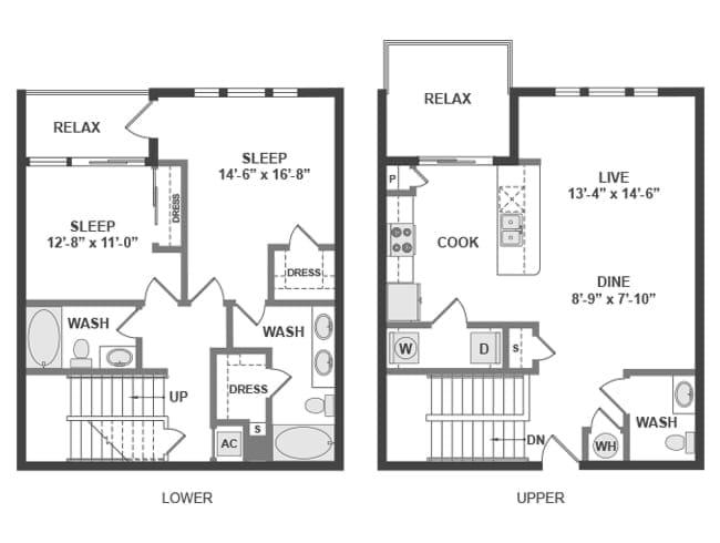 1,408 sq. ft. C8T floor plan