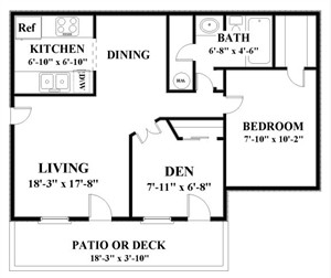 840 sq. ft. PARKSIDE floor plan