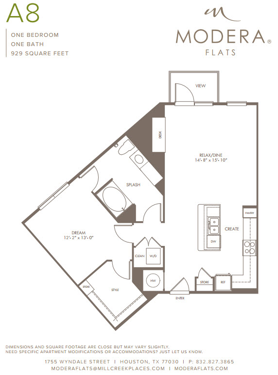 929 sq. ft. A8 floor plan